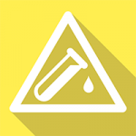 a yellow square with a a white triangle and a white test tube bottle in the triangle