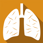 A orange square with a picture in the middle of a pair of human lungs in white.