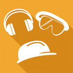 An orange square with a picture inside of a pair of ear defenders, goggles and a hard hat.