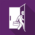 A purple square with a white door in the middle and a white man wearing a hard hat and carrying a toolbox going through the door